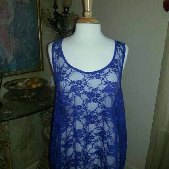 Cuteness Royal blue sheer lace top ....nwot Wet Seal Tops