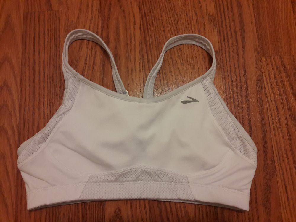 Brooks Sports Bra White 34C Women Fitness Free Shipping