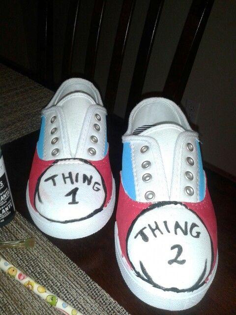 e62b7ce798 DIY shoes 1 thing 2 thing dr Seuss