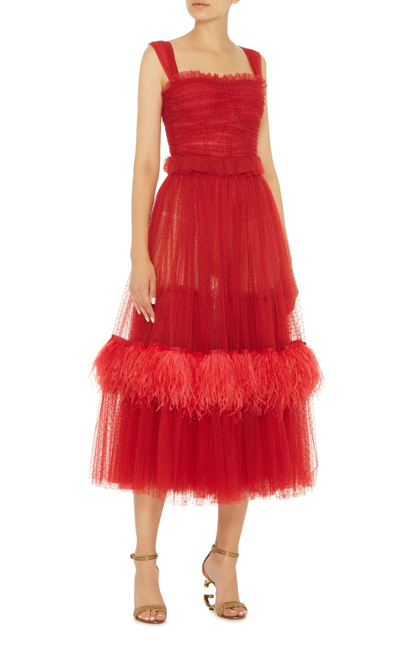 Feather-Embellished Tulle Midi Dress by
