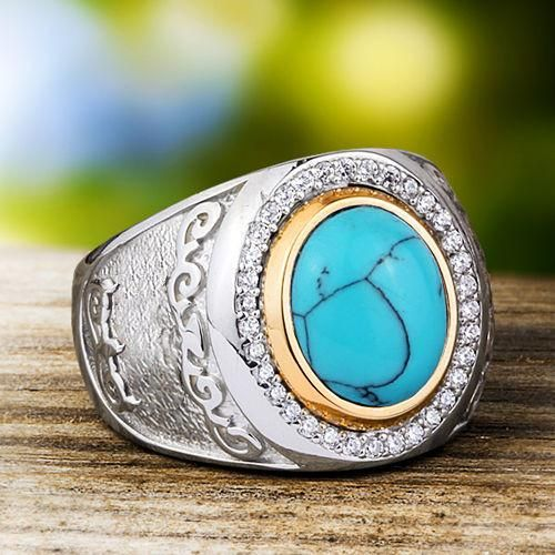 Men's Ring with Natural Blue Turquoise Cabochon in 925 Sterling Silver #emerald #jewelryoftheday #jewelryofinstagram #ringforman #mensjewelryfashion #giftforhim #mensring #giftforman
