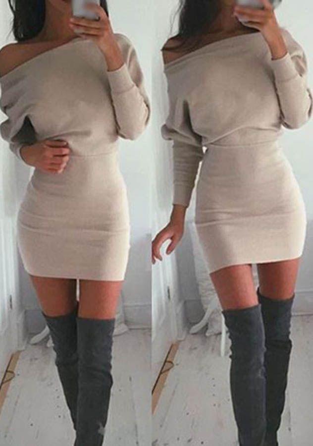 0aab0227f31 Off Shoulder Bodycon Dress   OTK boots.