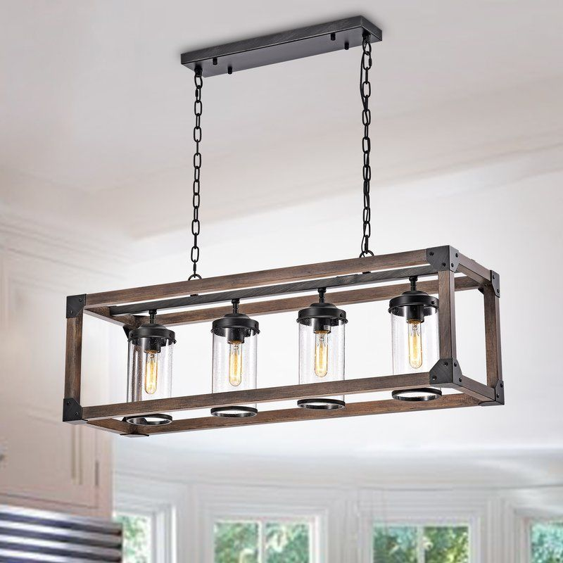 Ellenton 4 Light Shaded Square Rectangle Chandelier With