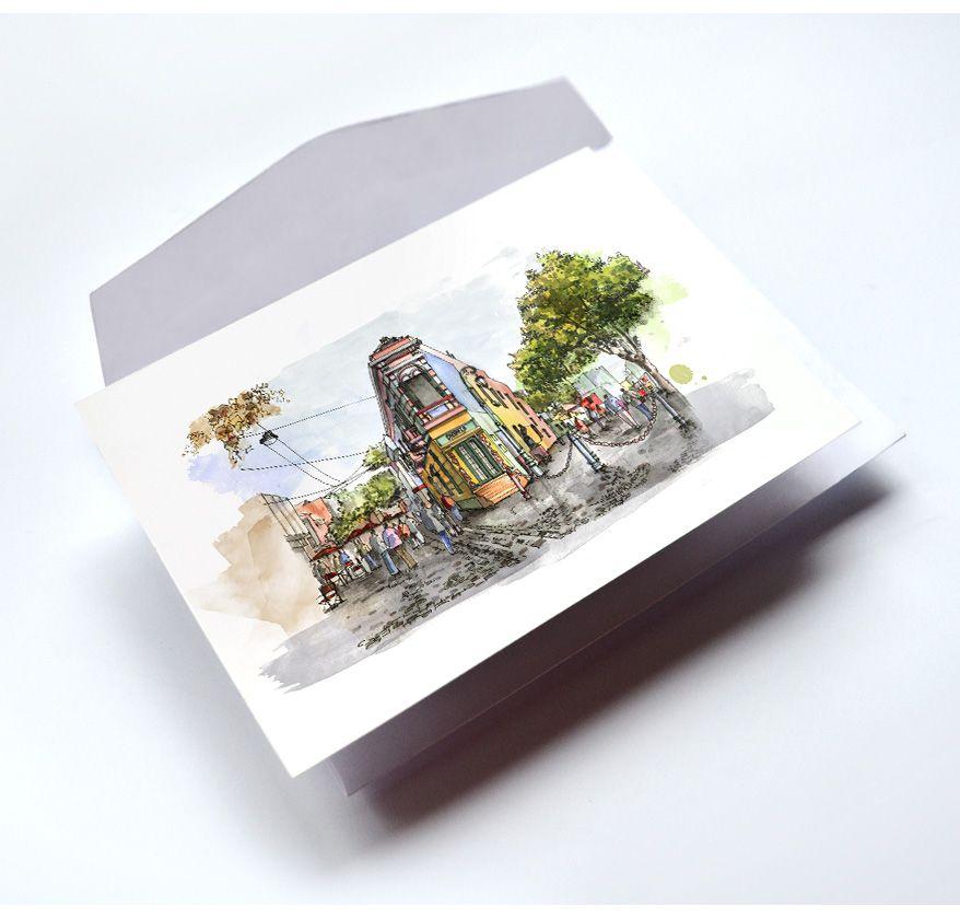 Sobre y Postal de Caminito, Acuarela sobre papel