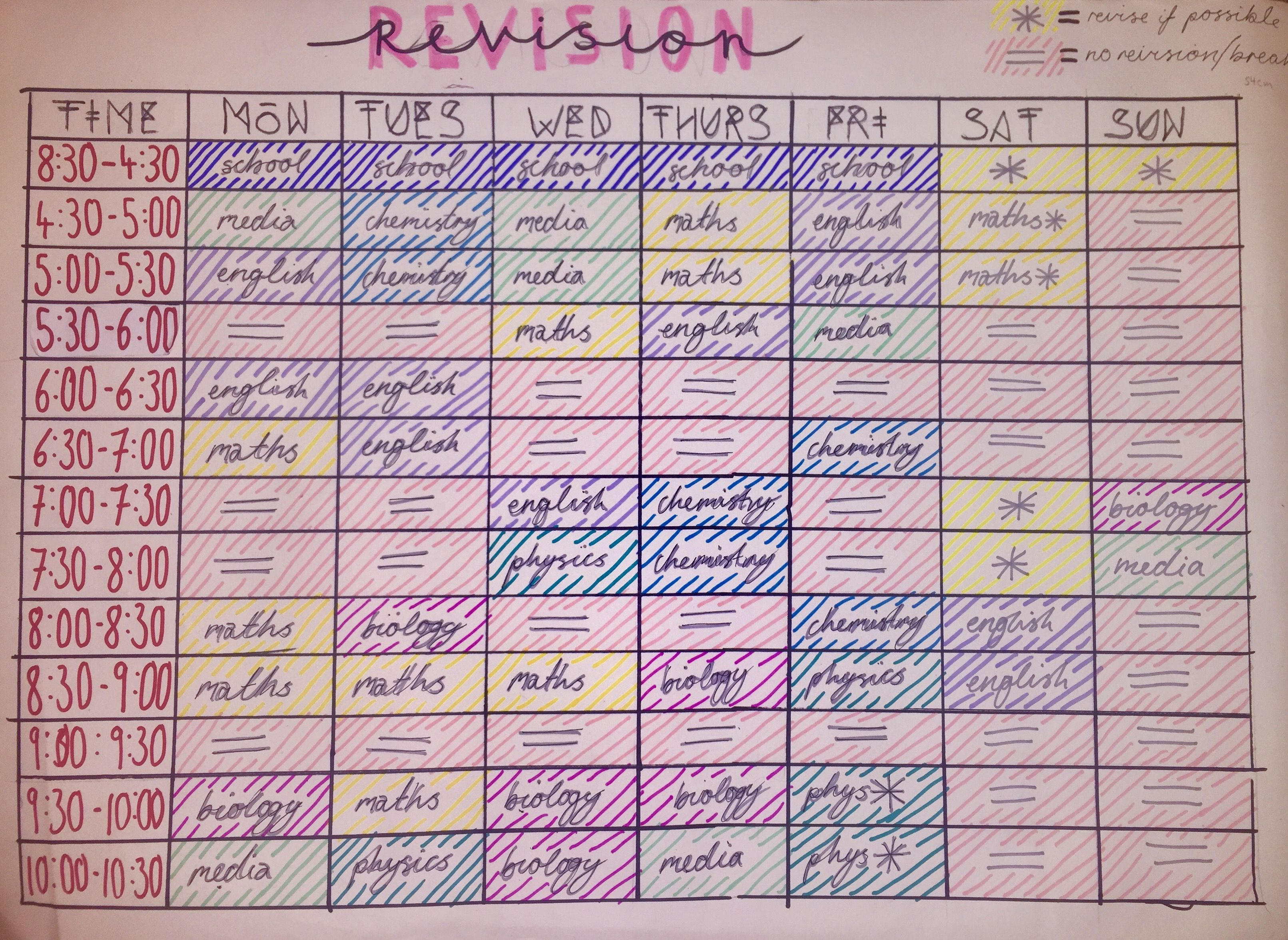 Revision Timetable  Study Tips    School Study