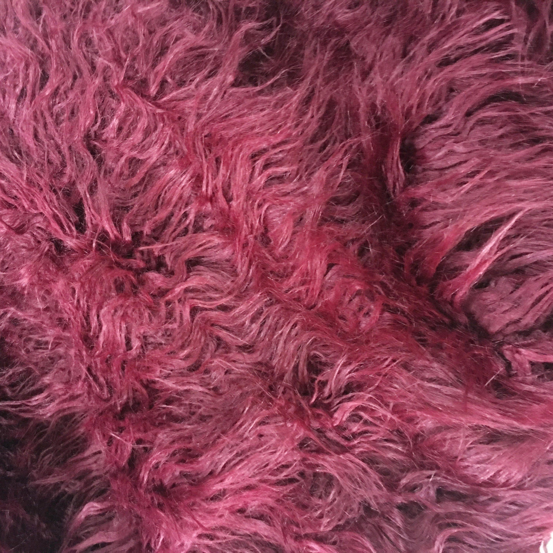 Claret Red Faux Mongolian Fur Long Pile Faux Fur Newborn Photo