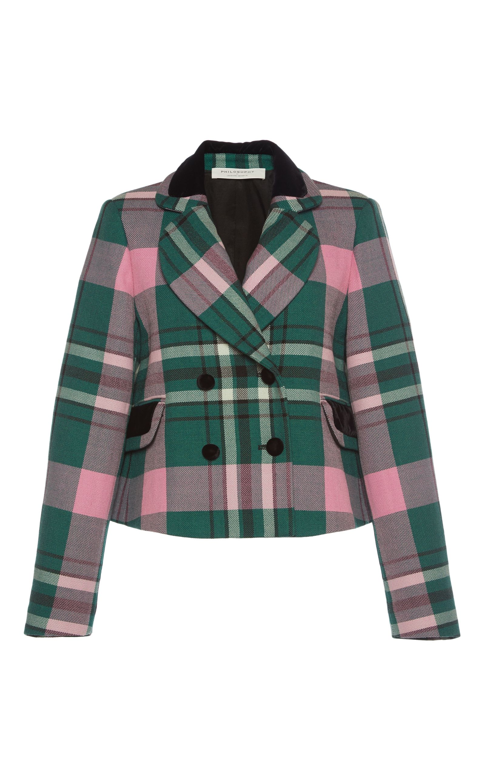 Double Breasted Cropped Plaid Jacket by PHILOSOPHY DI LORENZO SERAFINI for Preorder on Moda Operandi