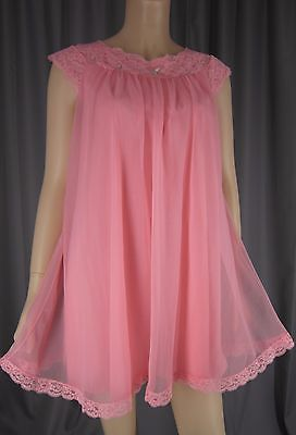 965be74dc39 Vintage 1960s Shadowline Sheer Chiffon Nightgown Babydoll Nightie Coral  Salmon