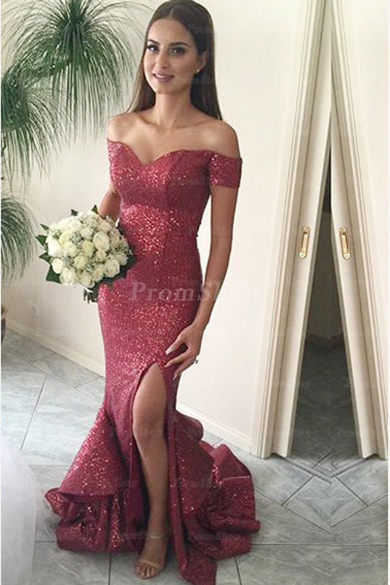 Marvelous trumpetmermaid offtheshoulder vneck long sequined prom