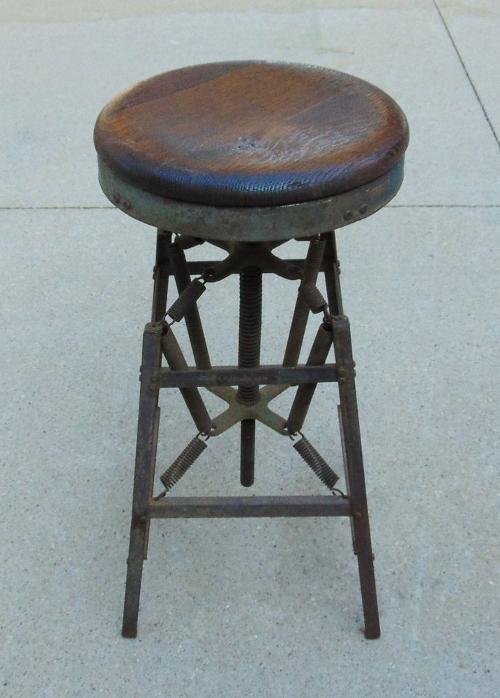 Miraculous Antique Vintage Industrial Drafting Bar Stool Hamilton Co Caraccident5 Cool Chair Designs And Ideas Caraccident5Info