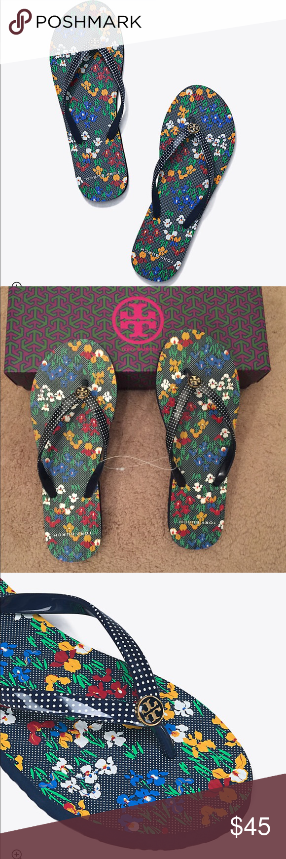 ba49187123b5 Tory Burch Iris Garden Printed Thin Flip Flop 💯% authentic Tory Burch Iris  Garden