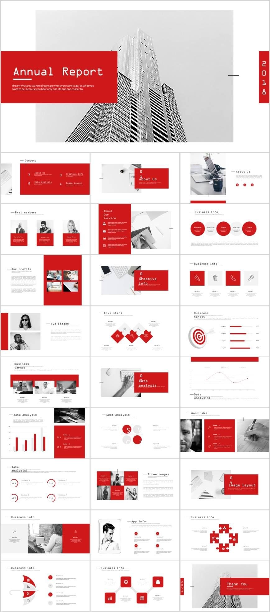 Clean red report chart PowerPoint template