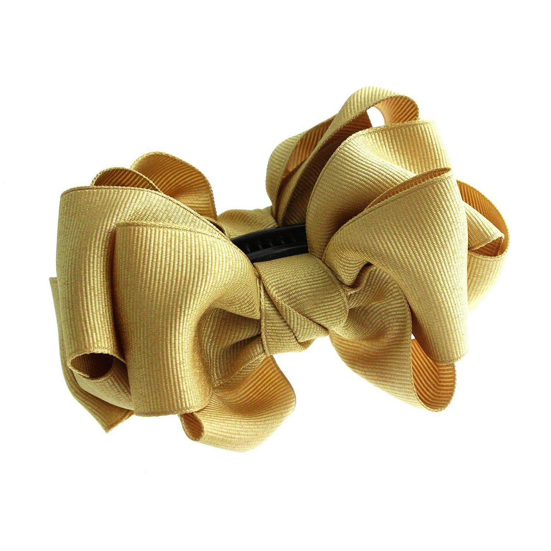 Amazon.co.jp: [ヴァンテーヌ] VINGTAINE ボリューミー リボン バナナクリップ ヘアクリップ ヘアアクセサリー H-503-YE イエロー: 服&ファッション小物