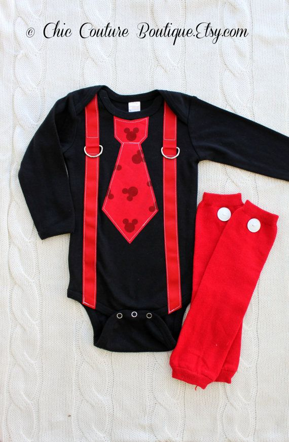 1 x Black//Red Bodysuit for Baby Boys Mickey Mouse Disney