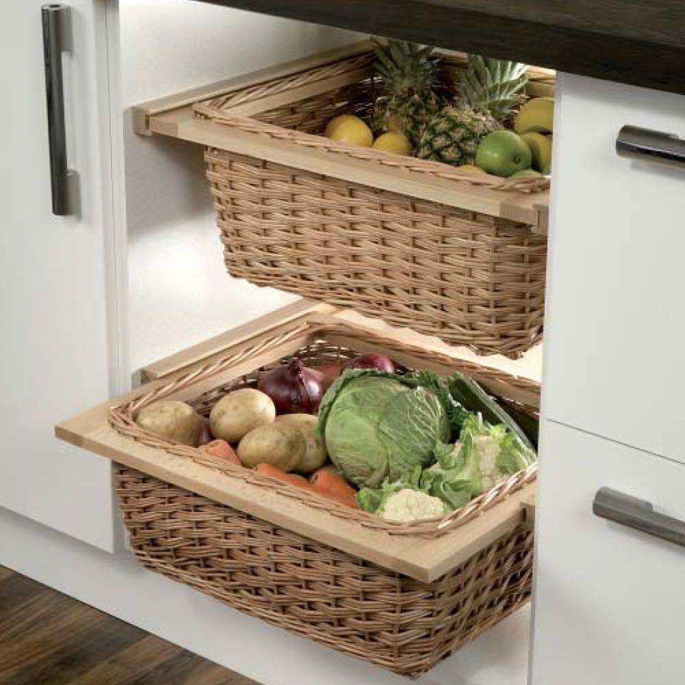 Slideout & Freestanding Wicker Baskets for Kitchen