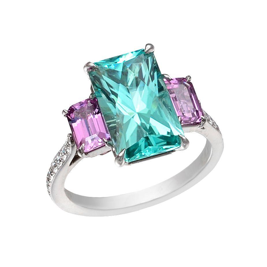 Paolo Costagli Mint Tourmaline & Pink Sapphire Ring