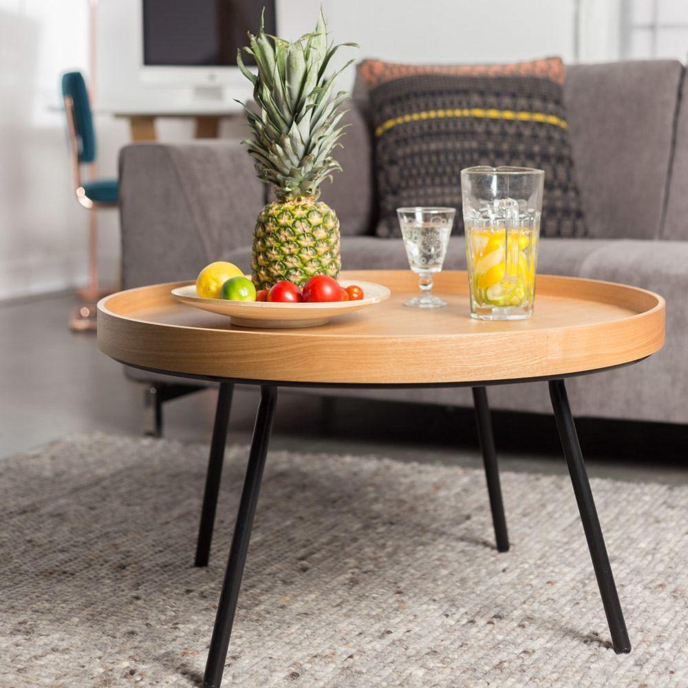 Zuiver Oak Tray Coffee Table Natural Veneer Black Steel