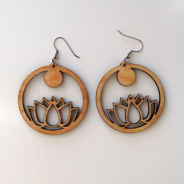 lotus sun laser cut wood earrings - Laser Cut Wood