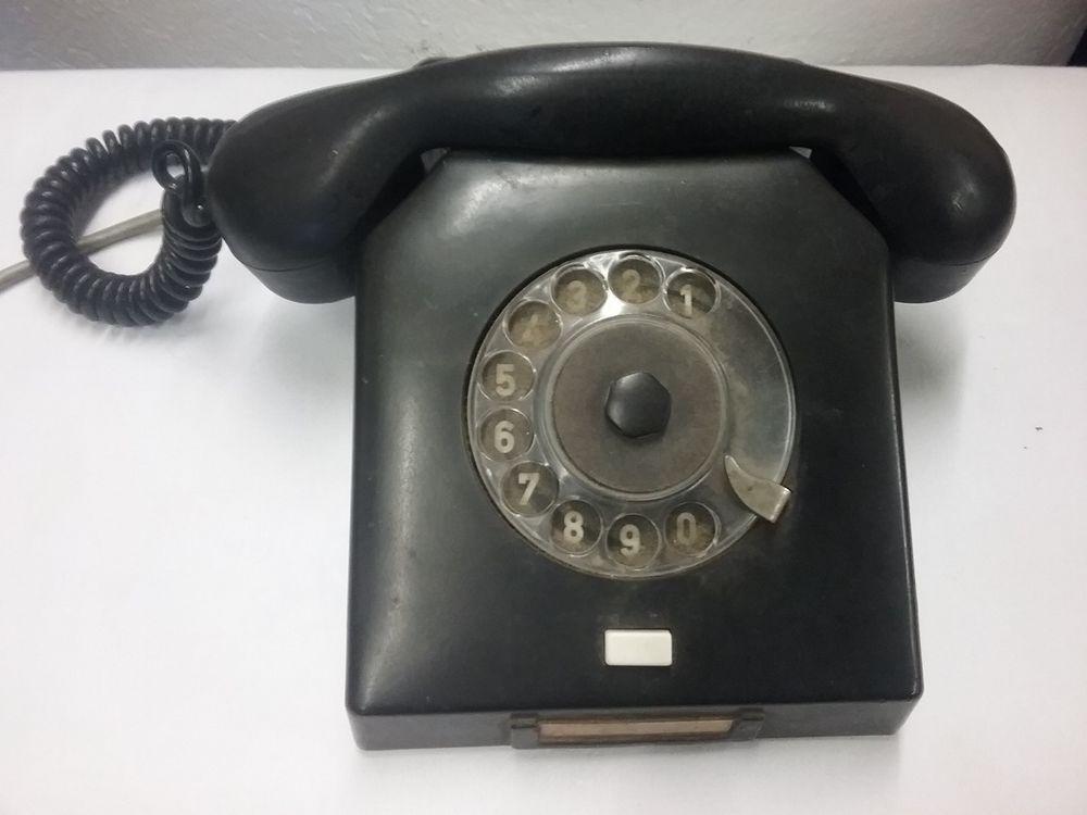 Altes Telefon Bakelit Schwarz Mit Wahlscheibe Horer Nordfern