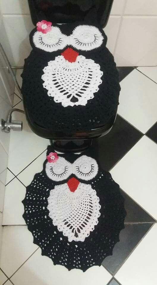 Jogo de banheiro corujinha dorminhoca preto e branco...thathy ...