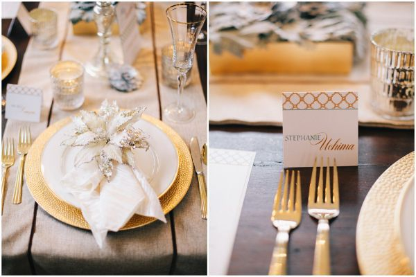 Delightful Gold, White And Cream Table Setting