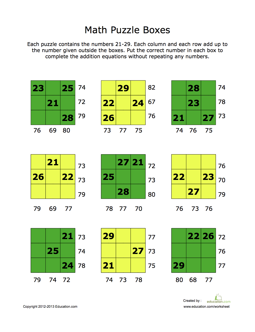 Square Math Puzzle Worksheet