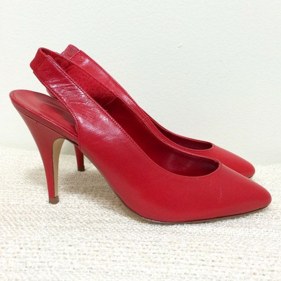 3e076b1763 Vintage 80s SRO Slingback High Heel Shoes / Sexy Red / Size 5.5 ...