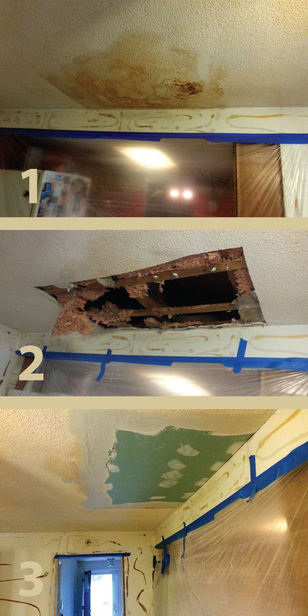 Repairing ceiling water damage in 3 steps