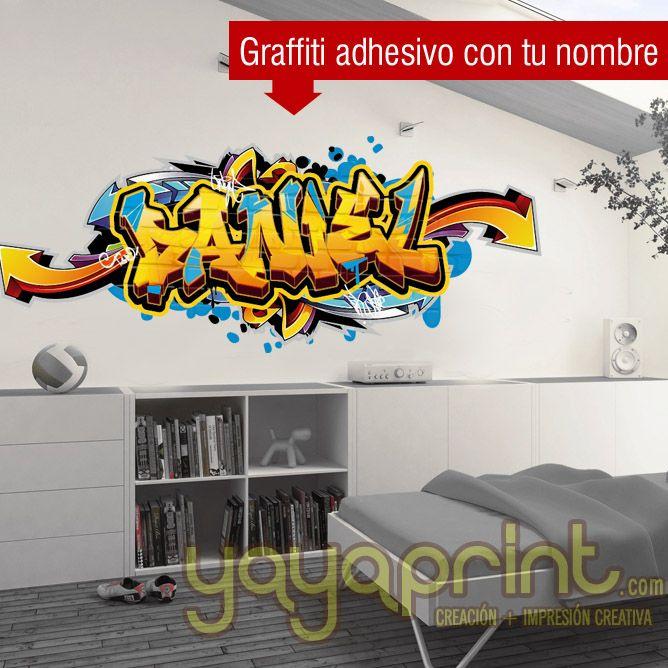 Graffiti de tu nombre personalizado en vinilo adhesivo a - Decopeques vinilos ...