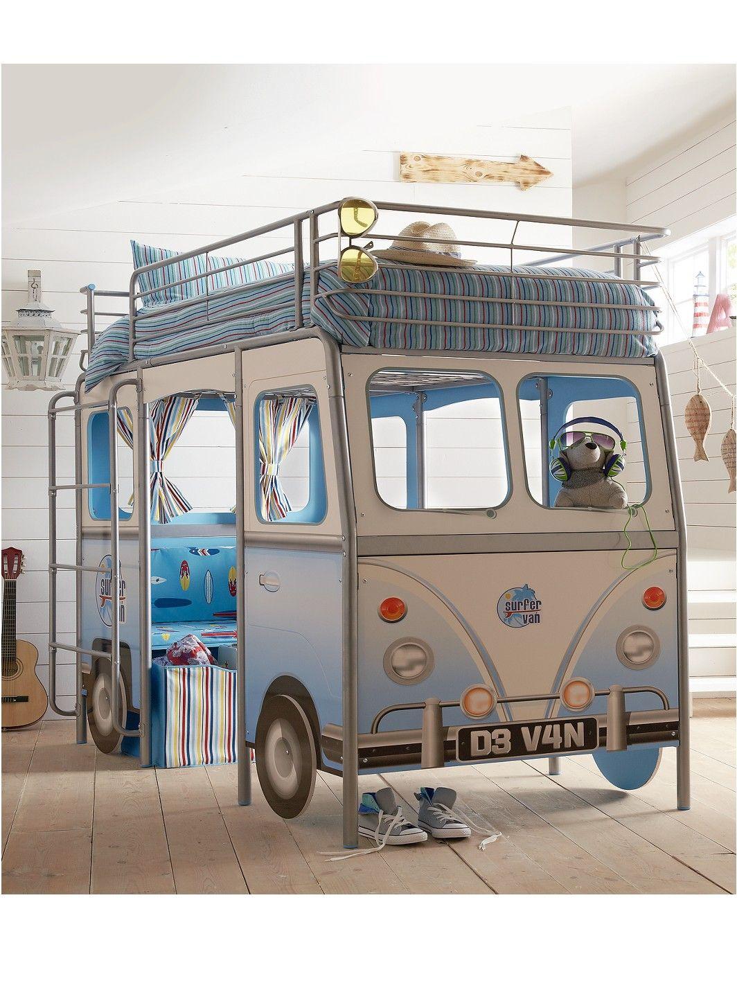 Devan camper van kids single bed with desk and seat woolworths
