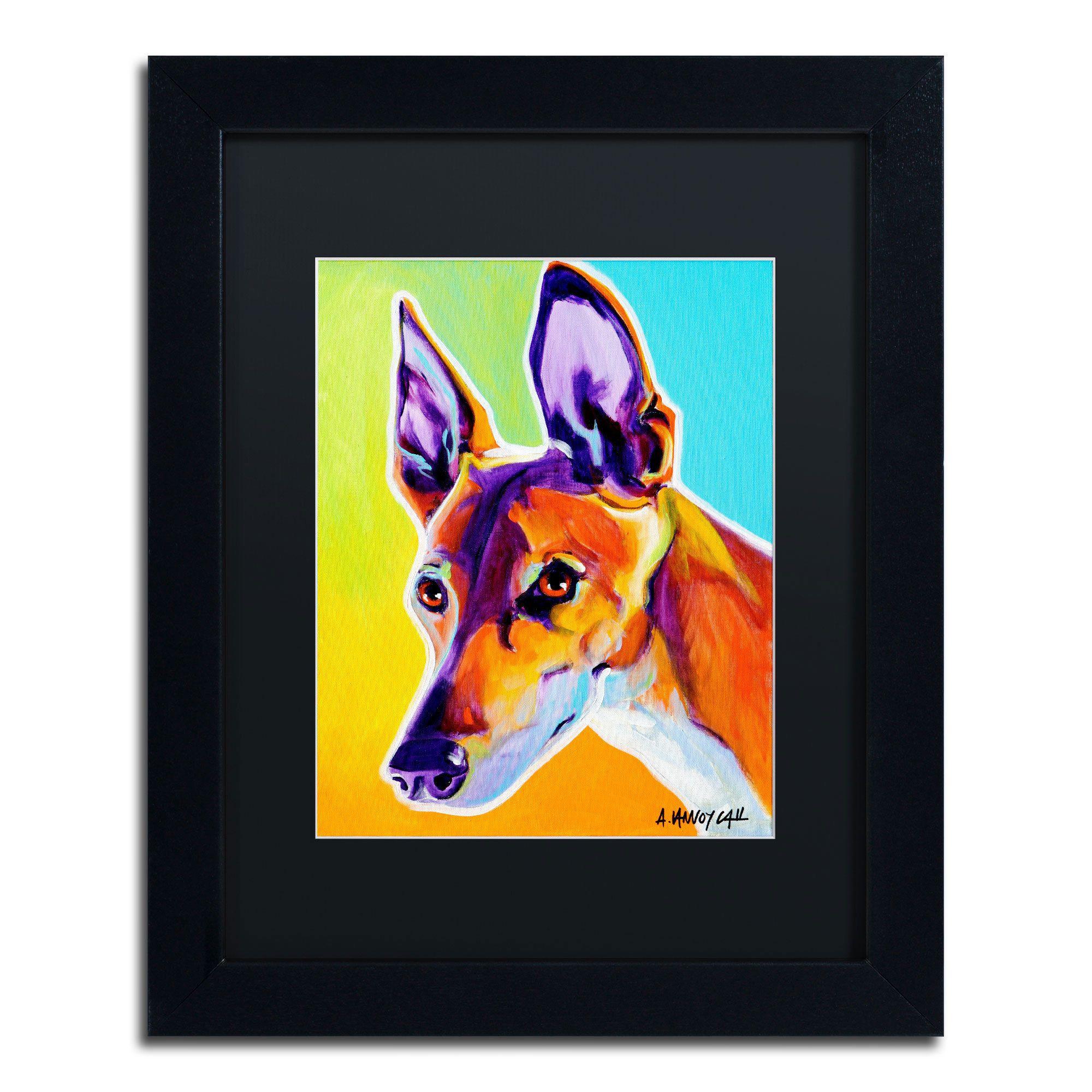 DawgArt 'Pharoah Hound Linus' Matte, Framed Wall Art