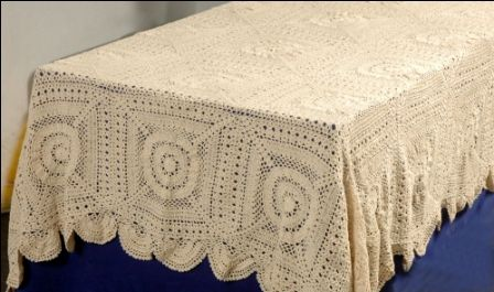 72 Inch X 90 Inch Rectangular Hand Crochet Lace Table Cloth