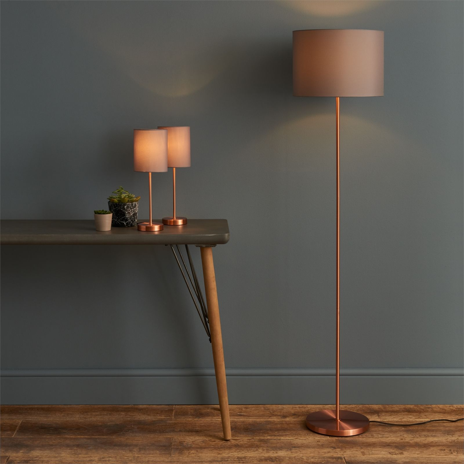 Floor Lamp Matching Table Lamps Set Copper And Grey With