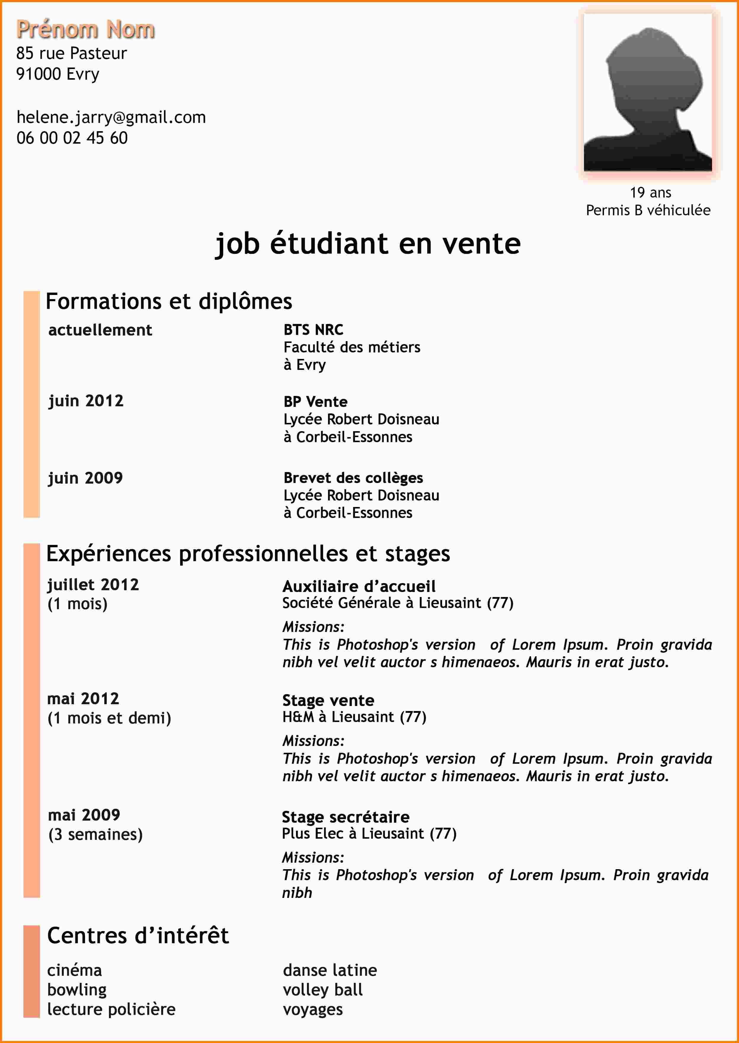 Telecharger Modele Cv Job Ete Lyceen Exemple De Cv Etudiant Exemple Cv Cv Job Etudiant