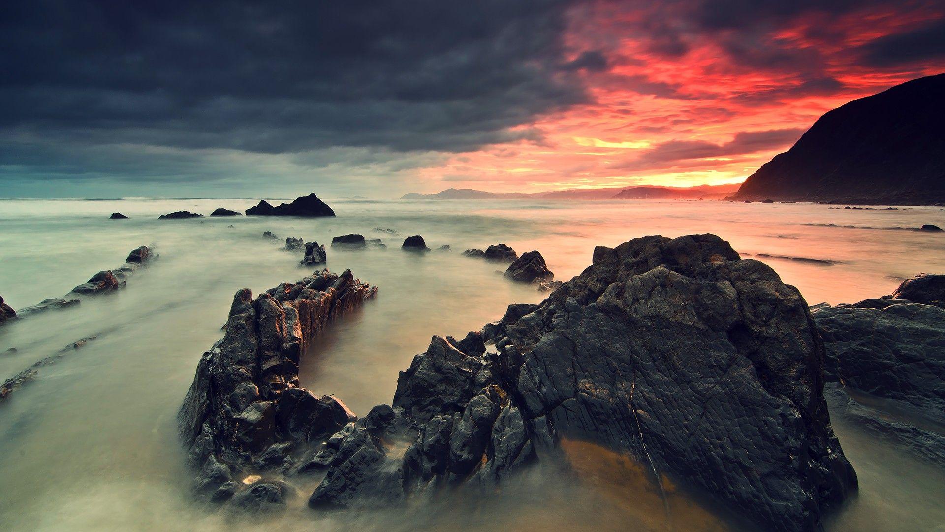 mountains landscapes beach rock sunlight / 1920x1080
