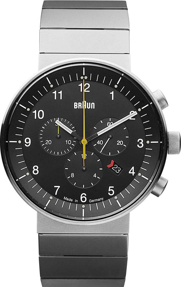 Braun BN0095 analogue watch - German Made  Functionality has always been an important factor of the Braun design tradition. No wonder this Braun Prestige analogue watch that measures 43mm diameter x D11 thick case is not only fashionable but also functional. Available in two versions, the stainless steel and the black plated stainless steel, both come with either a rubber strap or a stainless steel bracelet.  visit shopbalthazar.com