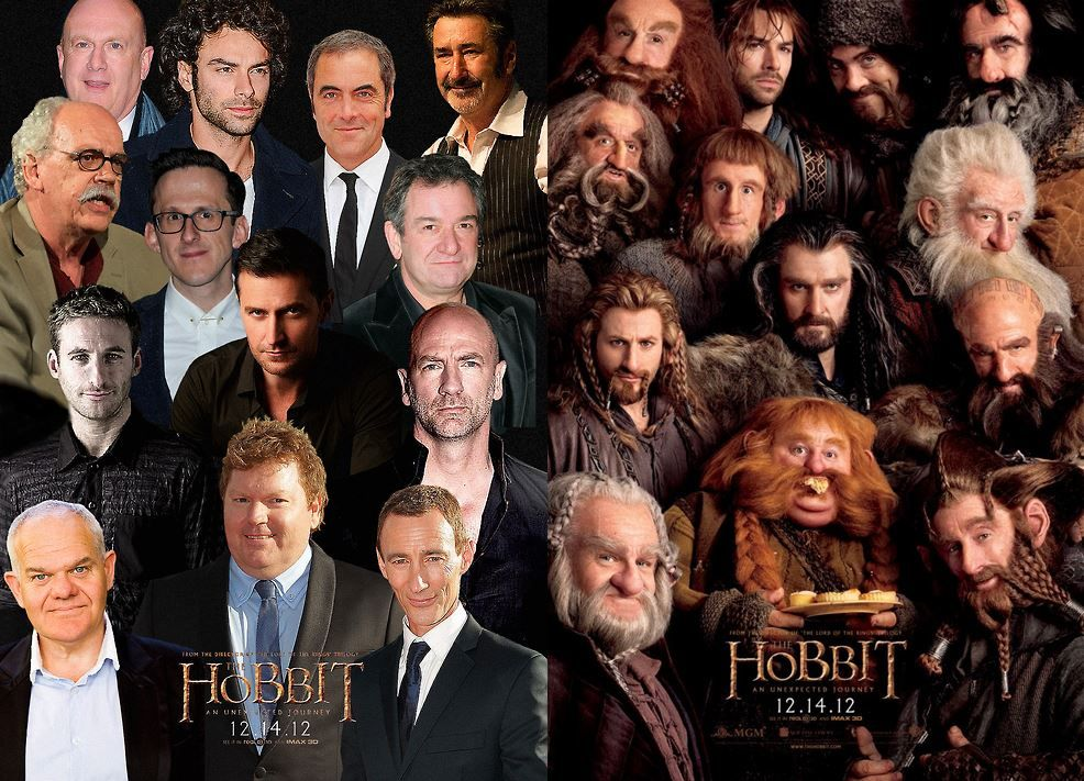 the hobbit cast photo in and out of costume thats pretty