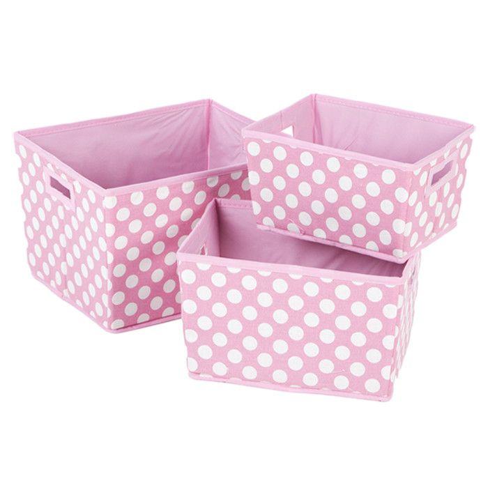 Fuschia With White Polka Dot Storage Containers Sale 19 00 Fabric Bins Fabric Storage Fabric Storage Bins