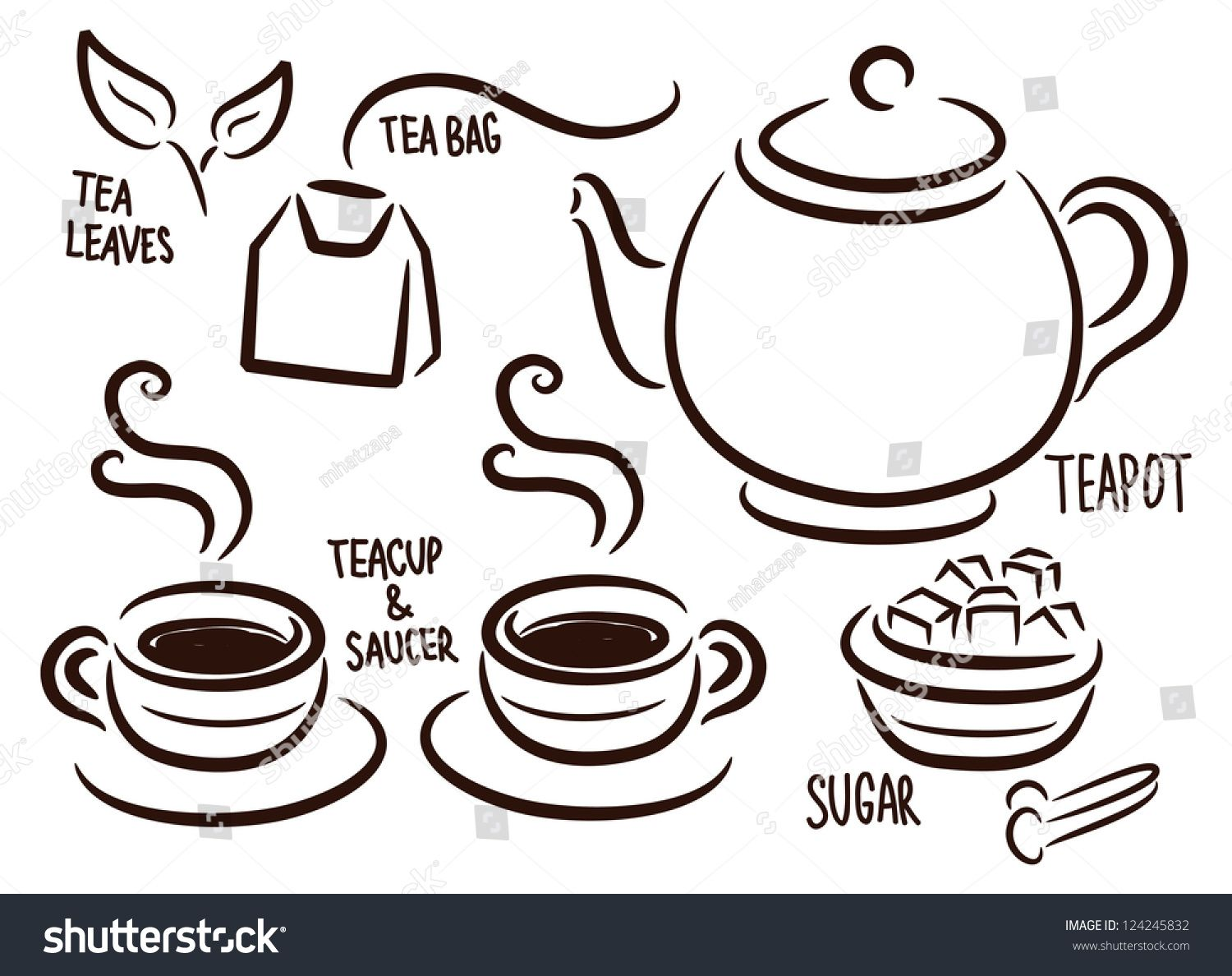 Set Of Tea Time Icon In Doodle Style Ad Ad Time Tea Set Style In 2020 Time Icon Doodles Tea Time