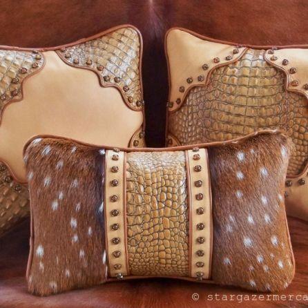 Camel Tan and Russet Pillows with Axis Deer fur