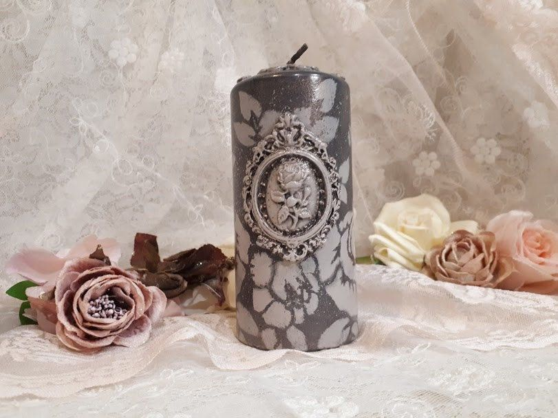 Victorian Style Pillar Candle Artistic Candle Decorated Candle Roses Candle Best Gift For Her Unique Gift Mothers Day Gift Girl Gift Candle Pillar Candles Candle Gift Candle Art