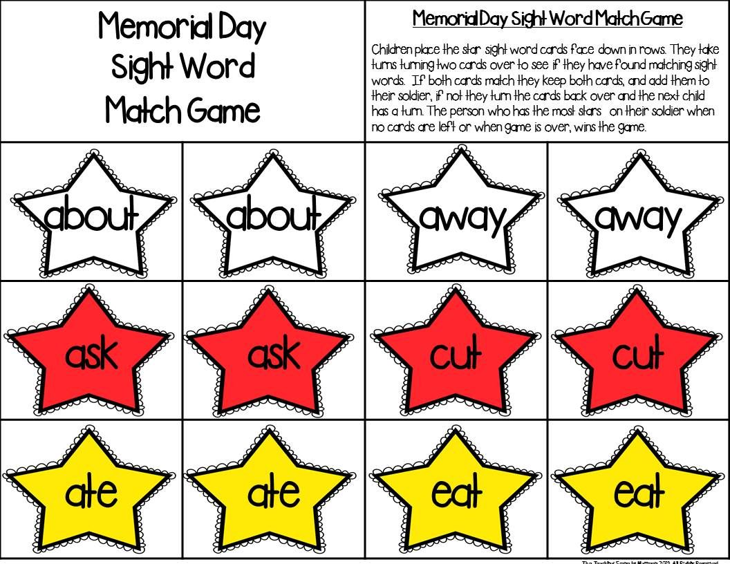 Memorial Day Sight Word Match Game