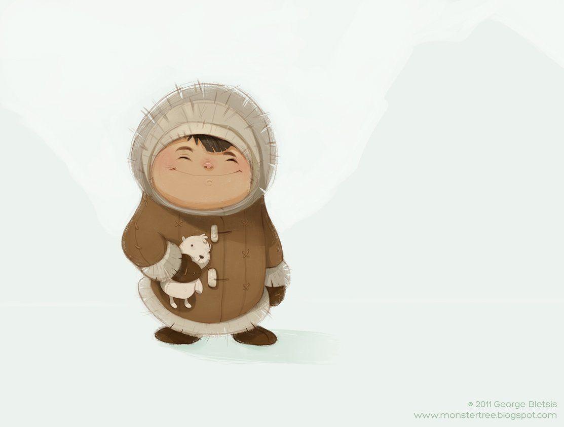 inuit kid picture 2d snow child illustration kid ice cold