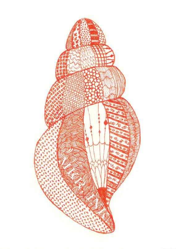 "Seashell: 8.5x11"" digital print of a pen and ink drawing. $12.00, via Etsy."