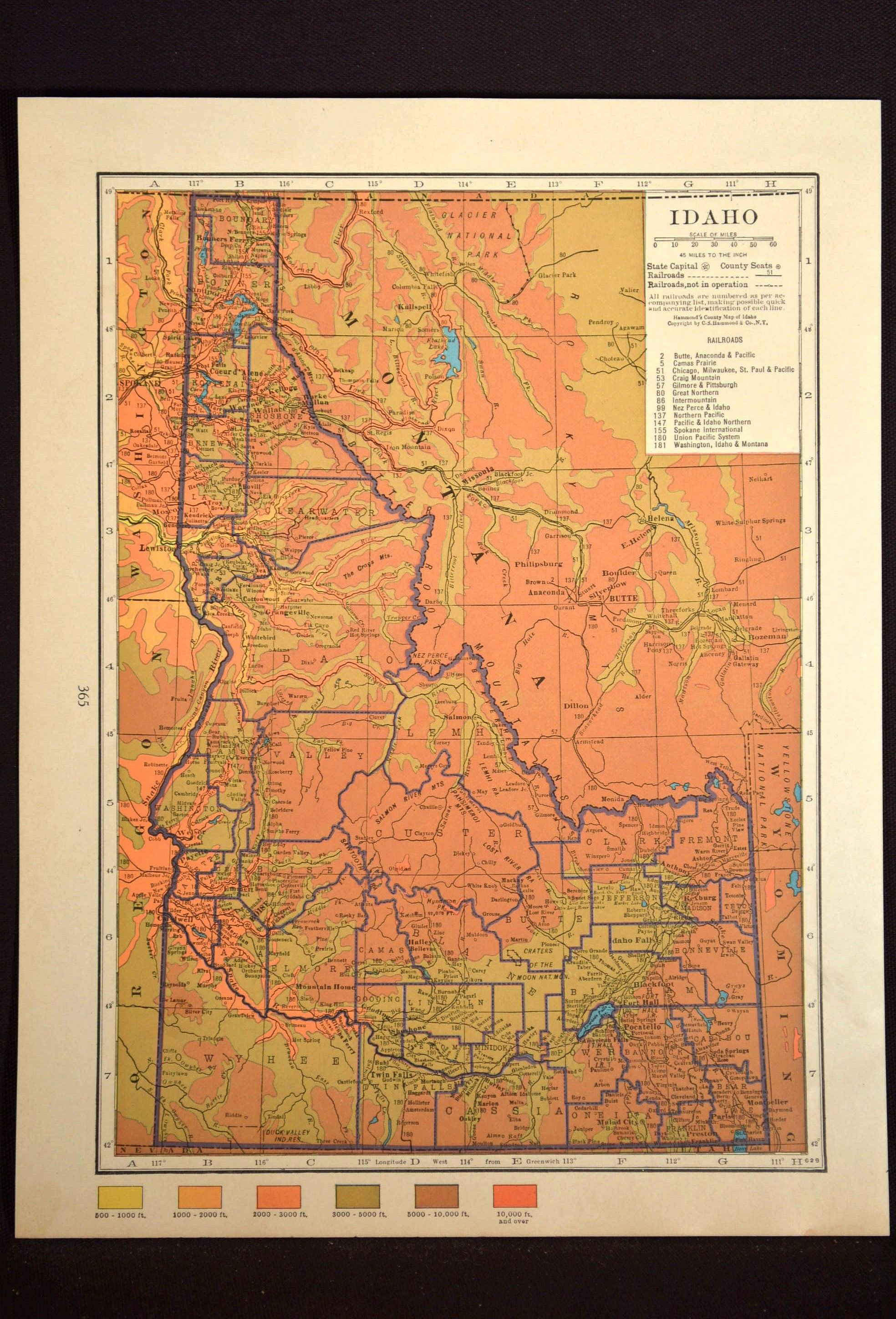 Idaho Map of Idaho Wall Art Decor Topographic Map Colorful ...