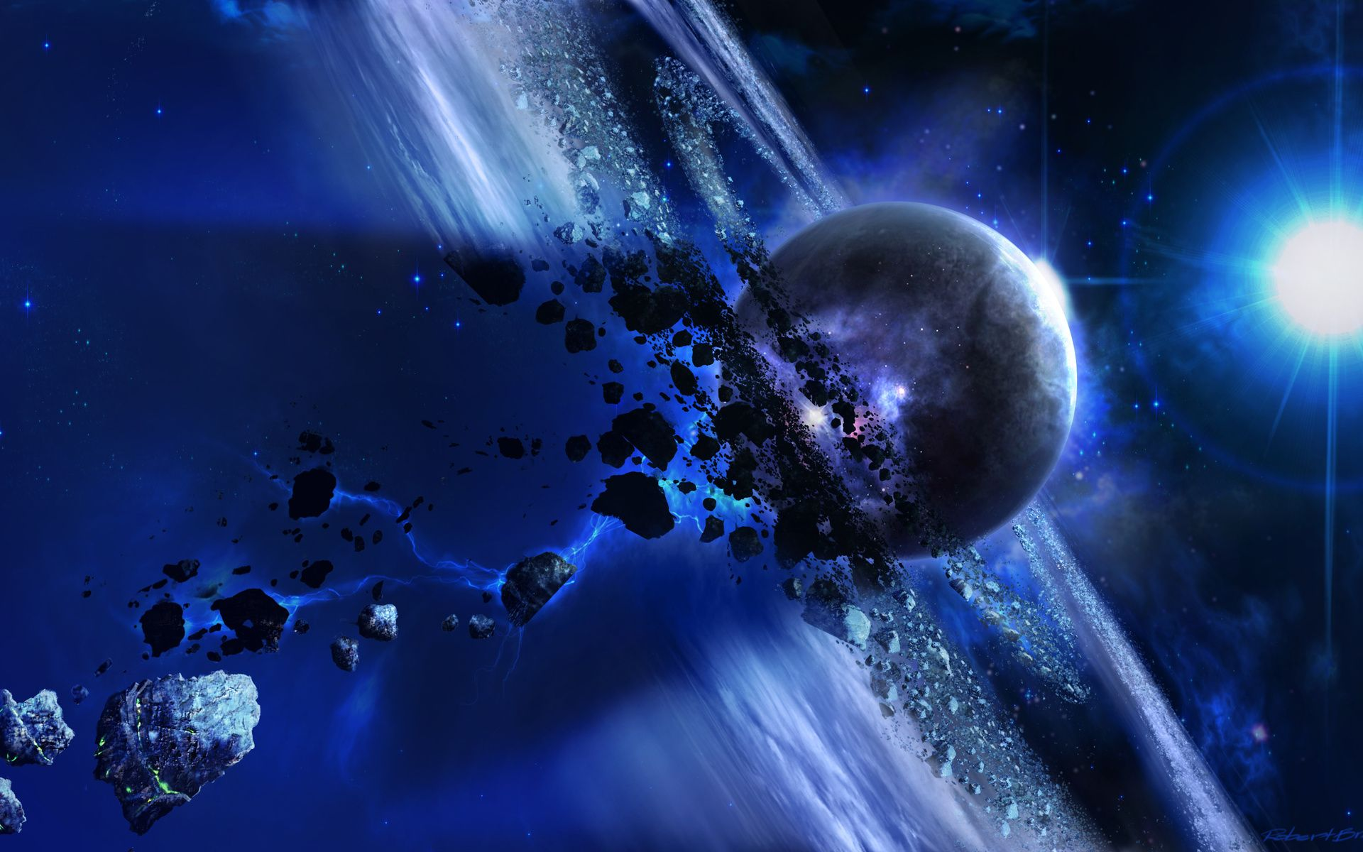 3d animation art blue space wallpaper hd free download for 3d outer space