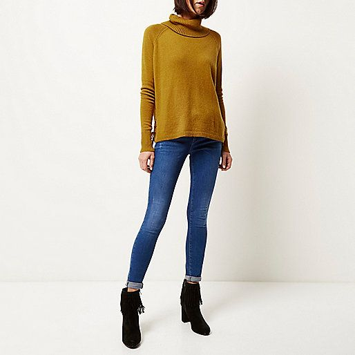 Dark yellow lace-up side knitted jumper - jumpers - knitwear - women