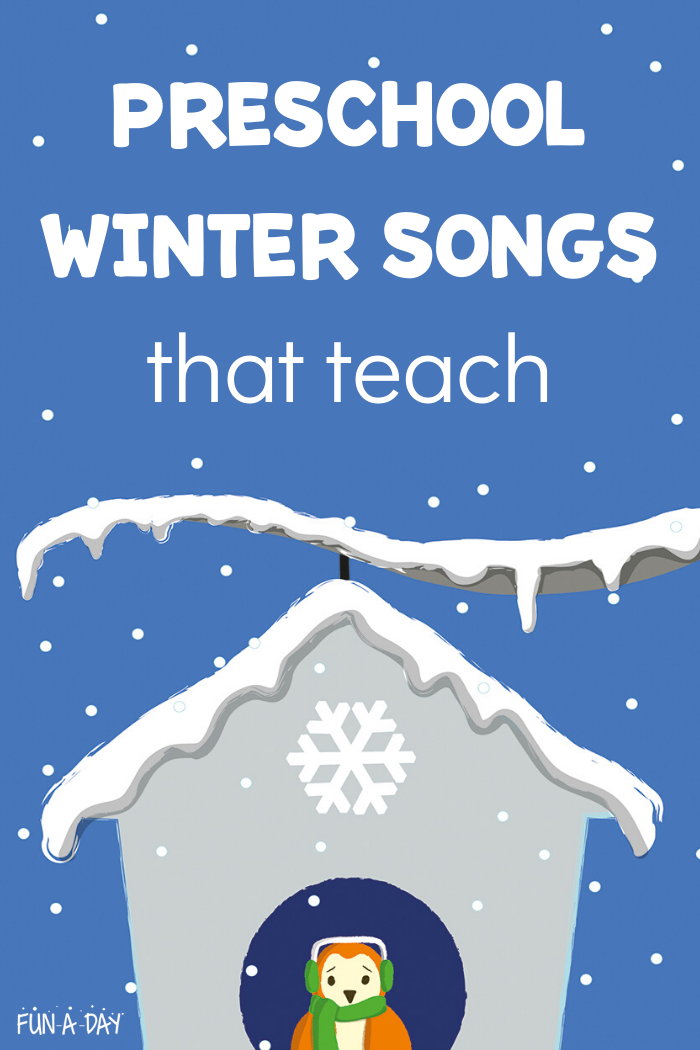 Even without trying to, kids learn a TON when they're singing! It's great for language development, counting, rhythm, literacy skills like rhyming and sequencing, and lots of other things! Enjoy these winter songs that teach! #funaday #preschool #preschoolsongs #songsforkids #kidsmusic #musicandmovement #winter #wintersongs