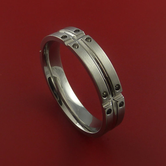 Titanium Unique Wedding Band Mens Rings Made by StonebrookJewelry, $238.92