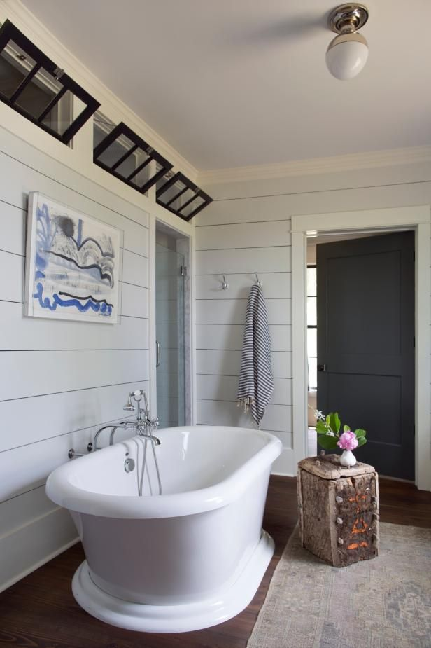 Bathroom With Light Gray Shiplap Walls